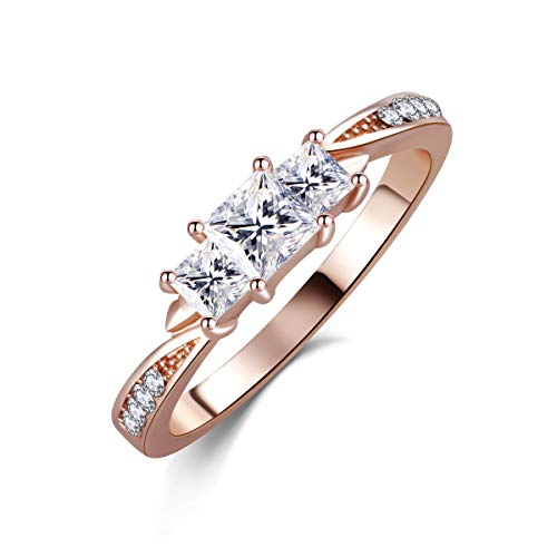 SR Womens Luxurious Rose Gold Plated Square Faceted Shaped Cubic Zirconia Ladies Promise Engagement Ring Size 6-9