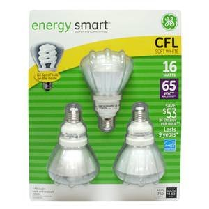 GE Long Life CFL 15W (65W Equiv) Flood Bulbs x3