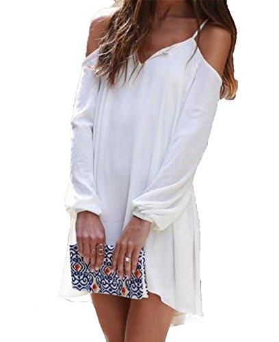 SheIn Women's V Neck Cold Shoulder Long Sleeve High Low Dress