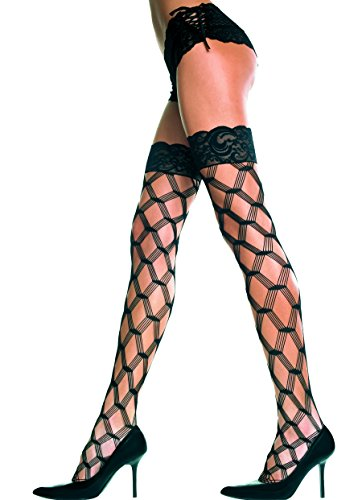 MUSIC LEGS Women's Lace Top with Silicone Multi Strands Diamond Net Thigh Hi, Black, One Size from Music Legs