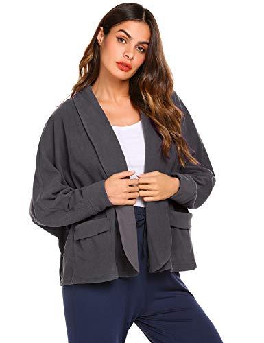 Ekouaer Womens Bed Jacket Peter Pan-Collar Robe Lounge Sleepwear,Grey,Large