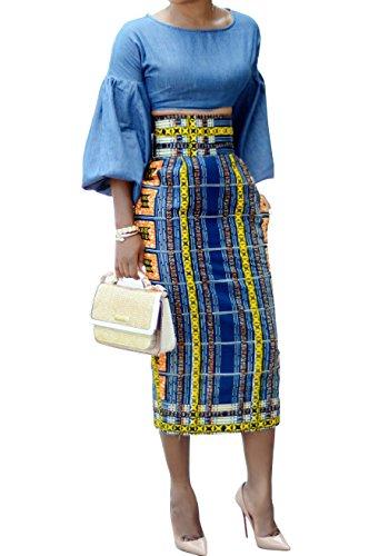 (Ermonn Women African Print Knee Length Skirt Slim Fit Midi Pencil Skirt Navy)