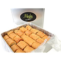 Baklava Halvah Flavor - Tahini Sesame Paste Rolls - Crunchy Turkish Tahini Baklava Cookies (50 Pieces approx) - Baklava w/ Toasted ground hulled sesame seeds - (Tin Box - 50 Pcs - 20 Oz)