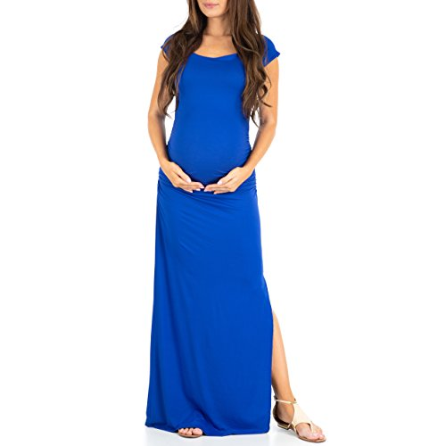 Mother Bee Maternity Shortsleeve Ruched Bodycon Maternity Dress with Side Slits (Royal, Large)