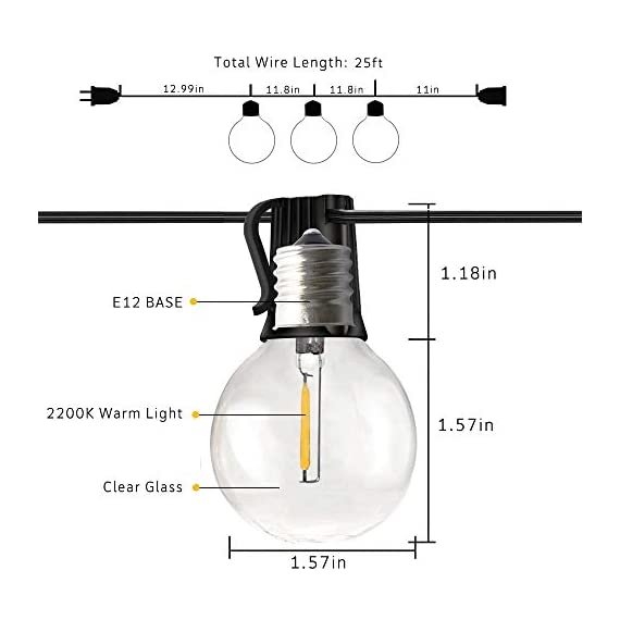 Svater LED Outdoor String Lights,50FT Patio Lights with 46pcs E12 Socket, 50pcs 2700K Warm White G40 Bulbs,Indoor… - POWERFUL BULB STRING LIGHTS : 50ft per strand with 46pcs E12 sockets , 50pcs G40 LED bulbs which is powerful to light up your outdoor space. Multi-STRANDS CONNECTABLE : Svater Globe LED string light are end to end connectable up to 20 strands, feel free to customize your arrangements. Sockets will fit any bulb with compatible E12 base that you have the option of switching up your style. ENERGY SAVING: Svater G40 LED String Light save over 90% energy over incandescent bulbs. Long lifespan last 30,000 hours can reduce maintenance costs on changing bulbs frequently. Weatherproof strong rubber wire and socket can tear of indoor or outdoor use all year. - patio, outdoor-lights, outdoor-decor - 41dKL%2BiCD L. SS570  -