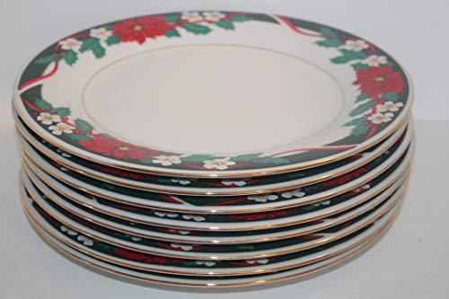 TIENSHAN Deck The Halls (Verge) SET/6 Dinner Plates~Poinsettias & Ribbon green Border ~Discontinued.1985-2000