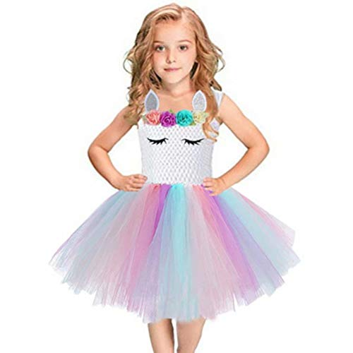 Girls Tutu Party Dress Rainbow Tulle Costume for Christmas Halloween]()