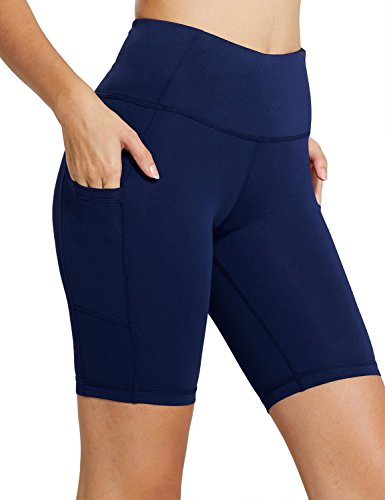 Baleaf Women's 8″ High Waist Tummy Control Workout Yoga Shorts Side Pockets Navy Blue Size L