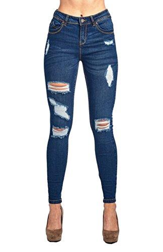 Ladies Dark Blue Denim - 2LUV Women's Stretchy 5 Pocket Butt Lift Distressed Skinny Jeans Denim Dark 5