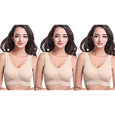 MIRITY Padded Sports Bras for Women Freedom Seamless Spandex Yoga Bra Pack of 3 at Women's Clothing store