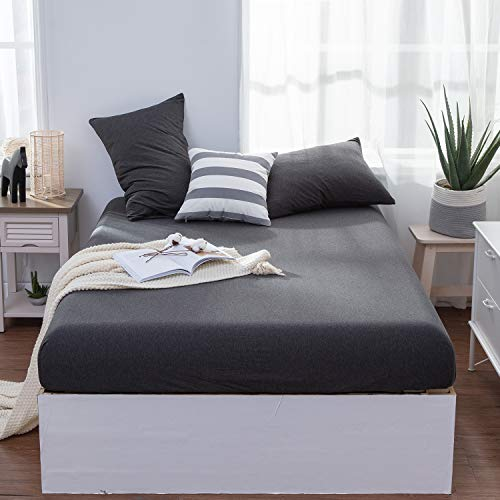 Lifetown Jersey Knit Cotton Fitted Sheet Twin 1 Fitted Sheet And 2 Pillowcases Extra Deep Pocket Fitted Bottom Sheet Ultra Soft And Easy To Put Twin Dark Gray