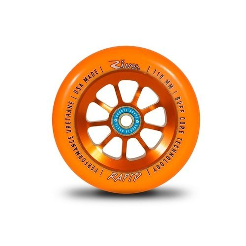 River Rapid 110mm Wheels with bearings Orange (Pair) by River Wheels