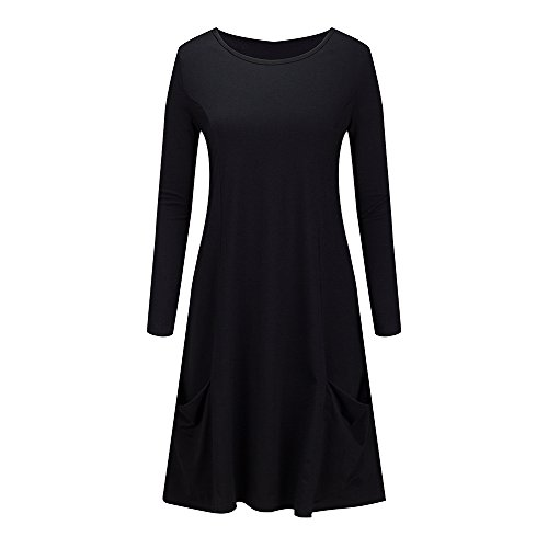Beauty7 Coton Base Occasionnels Balançoire Lâche Femmes Tunique Robes T-shirt Noir Simple Simple