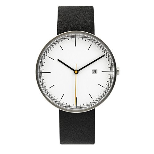 Calendar Stainless Steel White Dial (BIJOUONE B202 Minimalist White Dial Stainless Steel Swiss Quartz Calendar Men's Watch, Clean Simple Causal Design)