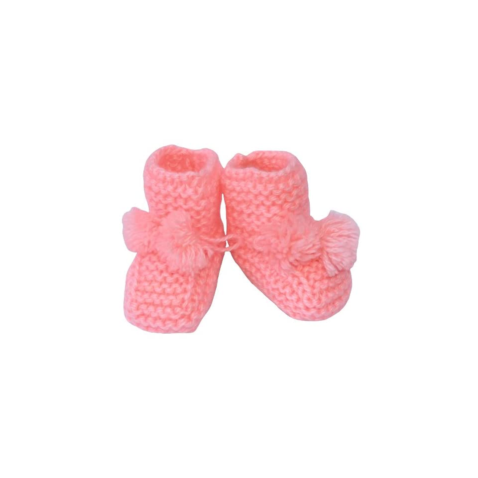 Handmade Wool Booties, Size 0 12 M, Color Peach