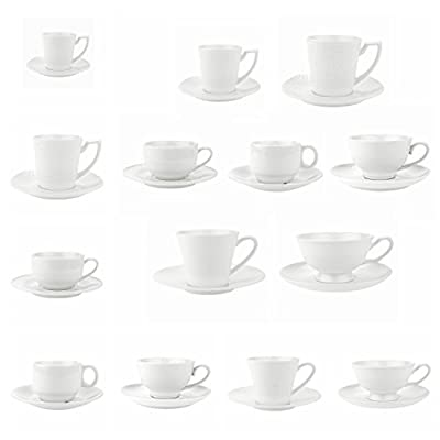 T4U Coffee Tea Cups and Saucers with Handle Tea Cup and Saucer Fine Durable Porlecain White