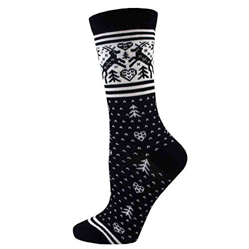 Davco Womens Reindeer Fairisle Pattern Crew Socks (Black)