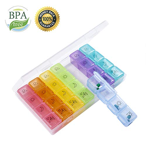 Pill Organizer Pill Box Pill Case 7 Day Pill Container 4 Times a Day Weekly Pill Boxes and Organizer, Daily Medicine Organizer Pill Planner Large Vitamin Organizer Travel Pillbox Easy Open Compartment