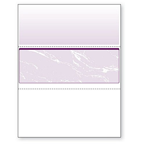 8-1/2'' x 11'' Standard Purple Marble Laser Check, Middle Position, 24# Stock (Carton of 2500) by DocuGard