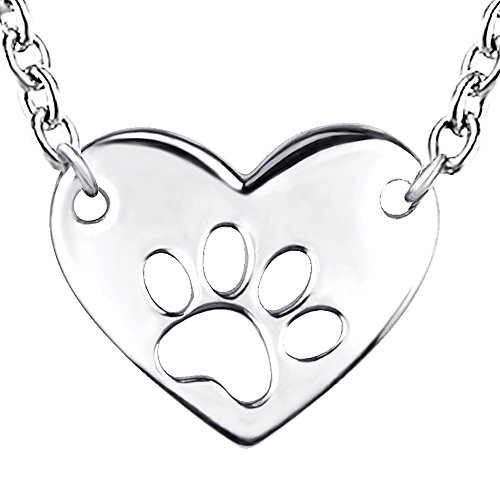 Dog Paw Sterling Silver Pendant - Sterling 925 real silver in white gold dog paw print with heart pendant necklace for women or girlfriend jewelry