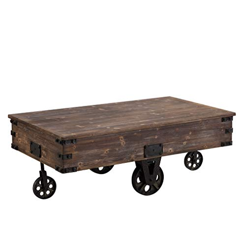 Farmhouse Coffee Tables FirsTime & Co. Factory Cart Coffee Accent Table, 45″ x 17″ x 29.5″, Rustic Espresso/Antique Black,70084 farmhouse coffee tables