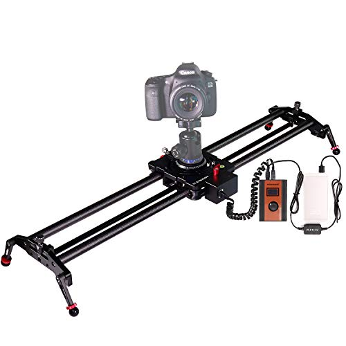 Camera Motorized Slider, ASHANKS Carbon Fiber Video Slider Electric Track Dolly Rail System with Time Lapse and Video Shot Follow Focus Shot for DSLR Photography Film Making 0.8m/2.6ft