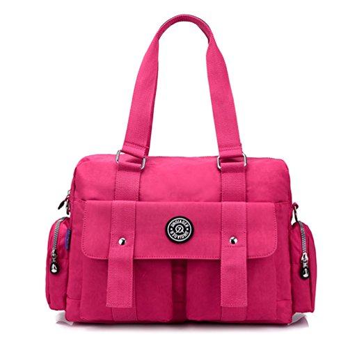 TianHengYi Women's Big Capacity Water Resistant Nylon Tote Duffel Shoulder Bag Handbags Weekender Bag Hot Pink