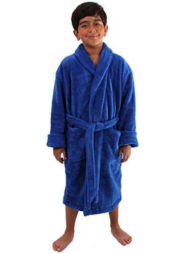 Turkuoise Boys Ultra Soft Plush Bathrobe Made in (Boys Plush Robe)
