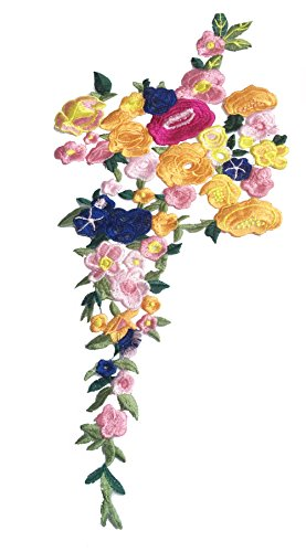 One Very Large 3D Flower Applique Plum Blossom Sewn On Patches Embroidered GarmentLace Fabric Ribbon Trim Neckline Collar Applique Patch Scrapbooking Decorated Fabric Embossed Decorated ()