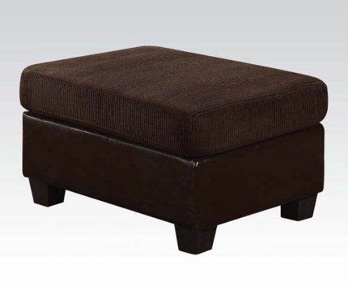 ACME 55975 Connell Sectional Sofa with Pillows, Chocolate Corduroy and Espresso