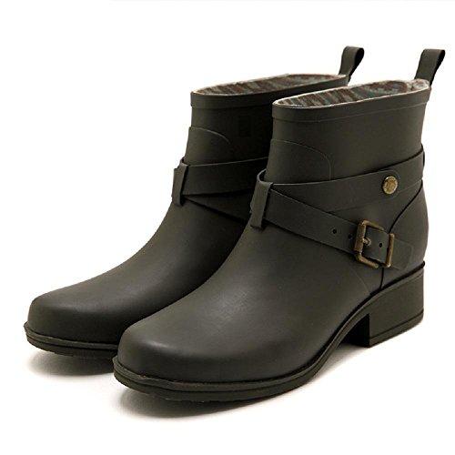 De las mujeres Moda Caucho Lluvia Botas Antideslizante Resistente al agua Lluvia Zapatos Olive Green