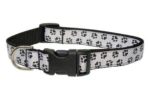 Sassy Dog Wear 18-28-Inch Black/White Puppy Paws Dog Collar, Large ()