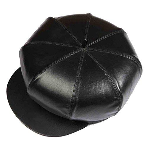 Para Cabbie Painter Cuero Hombre Beret Baker De Zhmiao Negro Sombrero Cap qR8awqSZn
