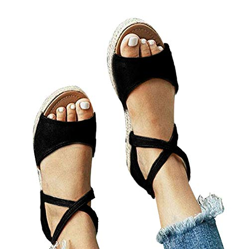 Athlefit Womens Platform Sandals Flat Strap Espadrille Sandals Criss Cross Size 9 Black