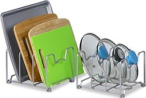 2 Pack - SimpleHouseware Kitchen Organizer Pantry Rack, Silver