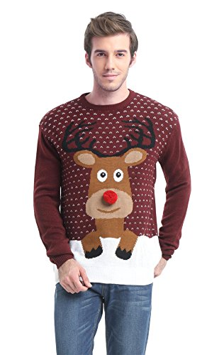 Daisyboutique Men's Christmas Reindeer Sweater Cute Ugly Pullover (XXX Large, Reindeer)