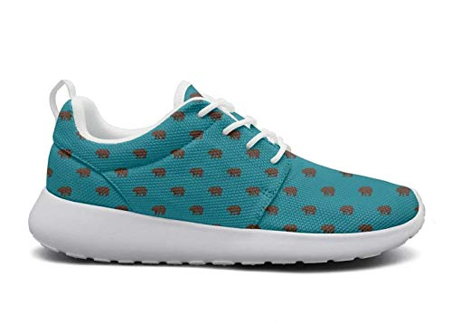 for Women Ultra Lightweight Breathable Mesh Athleisure Sneakers Canadian Brown Bear Canada Single Blue Fashion Walking Shoes -