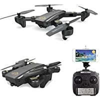Mini Drone WIFI FPV 0.3MP RC Quadcopter HD Camera 2.4G 6-Axis Gyro Remote Control Selfie Foldable Quadcopter Mini UFO Toys Gift For Kids and Adults (Black)