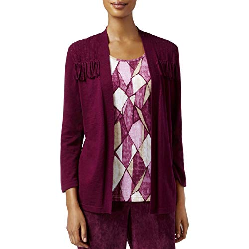 Alfred Dunner Womens Petites Office Wear 2Fer Cardigan Top Purple PXL