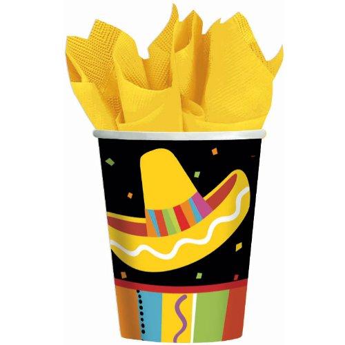 amscan Fiesta Fun Cinco de Mayo Party Paper Cups (8 Piece), Multi Color, 3 x 3 -