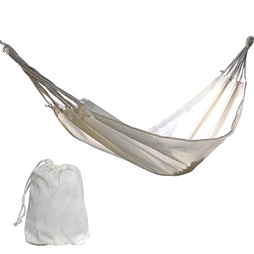 Brazilian Natural Hammock (Yunhigh Cotton Hammock Swing Bed Camping Indoor Outdoor Heavy Duty Lightweight Hand Woven Portable, Natural White)