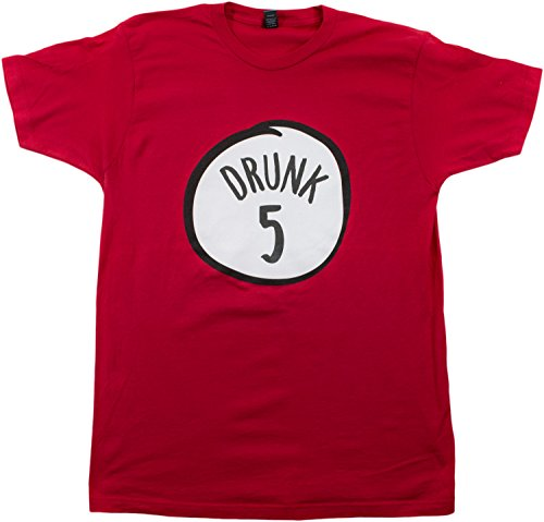 Drunk 5 | Funny Drinking Team, Group Halloween Costume Unisex T-shirt-Adult,L ()