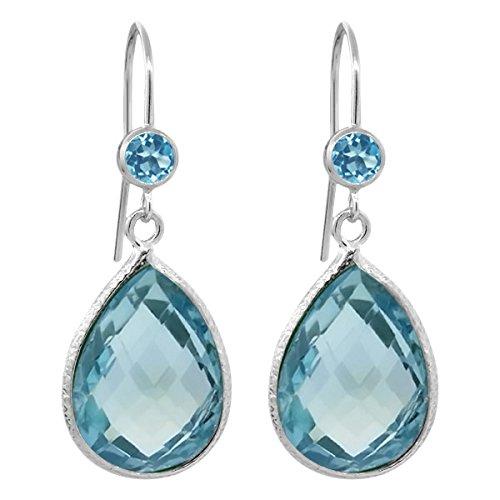 Gem Stone King 14.16 Ct Pear Shape Checkerboard Swiss Blue Topaz 925 Sterling Silver Earrings