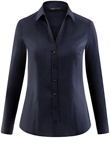 V Coton Chemisier Femme 7900n oodji Collection Bleu en Col pY6pnxT