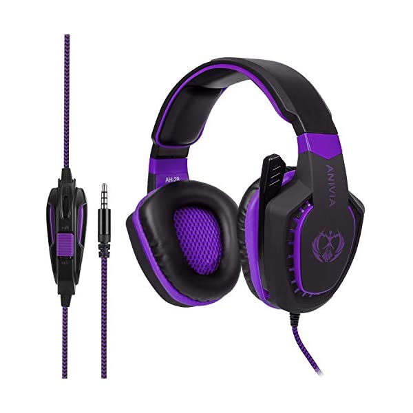 Xbox One Gaming Headset - Anivia AH28 3.5mm Gaming Headset Noise Reduction Stereo Surround Headphone with MIC for Pc/Mac/Ps4/Phone Black Purple