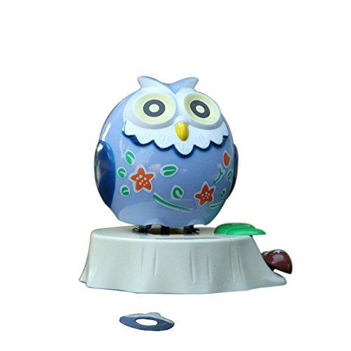 Lanlan Plastic Solar Powered Swinging Owl Blue