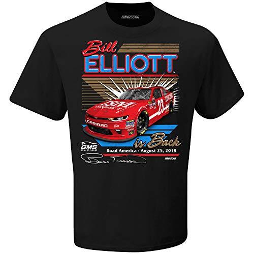 Bill Elliott Flags - Checkered Flag Bill Elliott 2018 Road America Bill is Back NASCAR T-Shirt (XLarge)