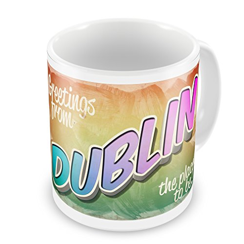 Coffee Mug Greetings from Dublin, Vintage Postcard - -