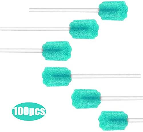Wellgler Disposable Oral Swabs Mouth Cleaning Sponge, Unflavored Tooth Care Swabs Individually Wrapped