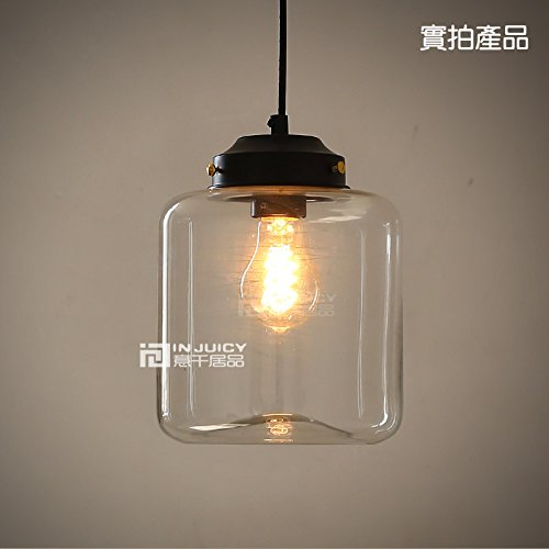 Injuicy Lighting Loft Vintage Industrial Clear Glass Pendant Lamp Fixtures Antique Retro E27 Edison Candy Jar Ceiling Pendant Lights Shade for Living Dining Room Bar Kitchen Restaurant Decoration